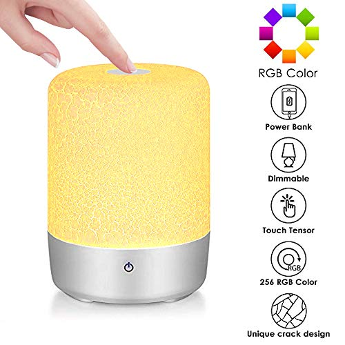 Touch Sensor Lamp,Bedside Dimmable Lamp Touch Sensor,Color Changing RGB,Warm White Night Light,LED Table Lamp