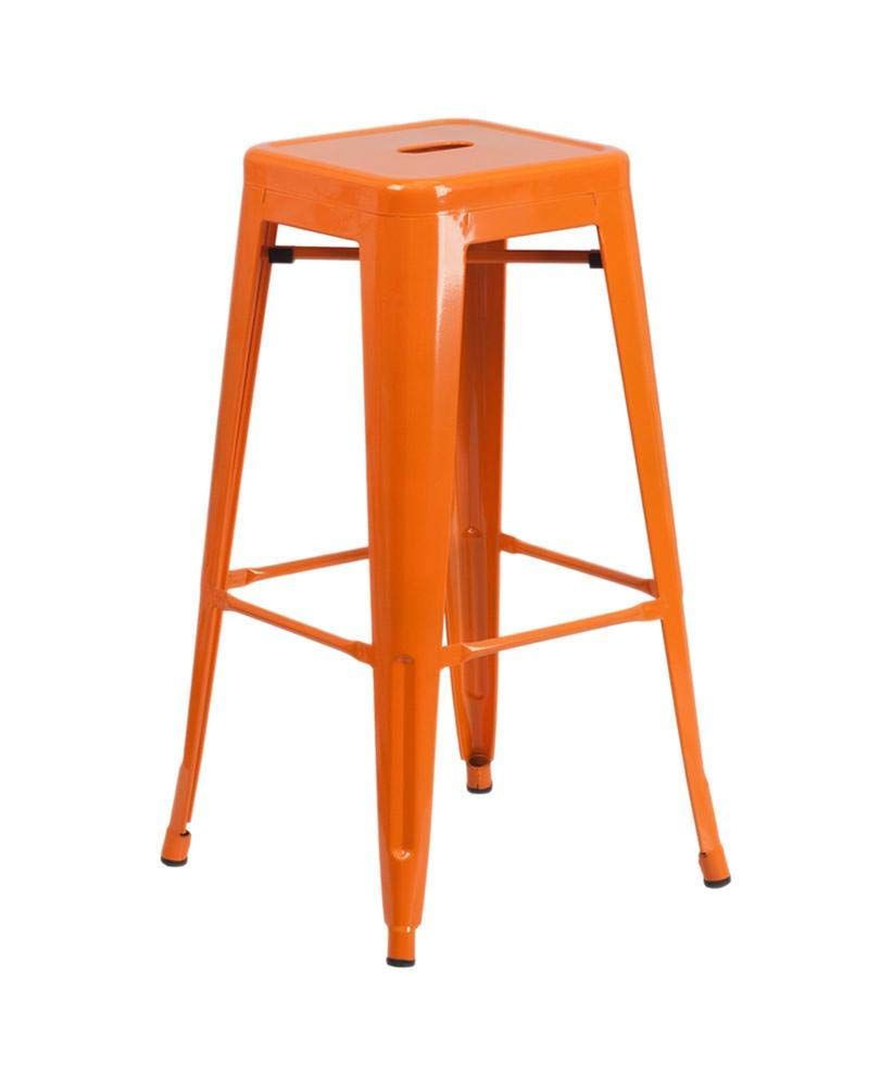 Flash Furniture 23.75'' Square Orange Metal Indoor-Outdoor Bar Table Set with 2 Square Seat Backless Stools by Flash Furniture (Image #2)
