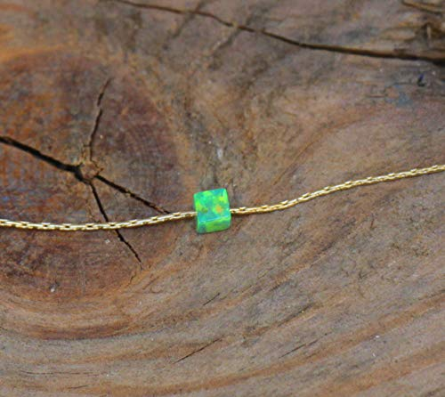- Opal Cube Necklace, Tiny Single cube opal jewelry, Dainty opal gift, Silver Gold Filled Rose Gold necklace, Girls 3mm Kiwi Green Opal stone