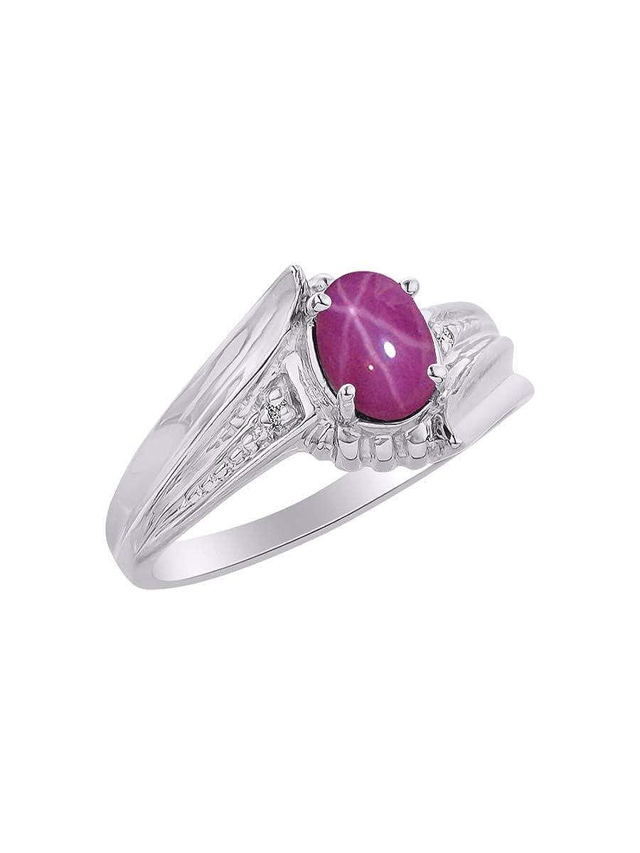 RYLOS Simply Elegant Beautiful Red Star Ruby /& Diamond Ring July Birthstone