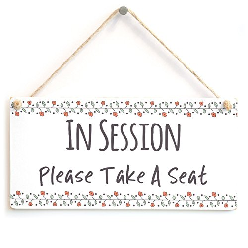 "Meijiafei IN SESSION Please Take A Seat - Functional Do Not Disturb Home Office Door Plaque Sign 10""x5"""