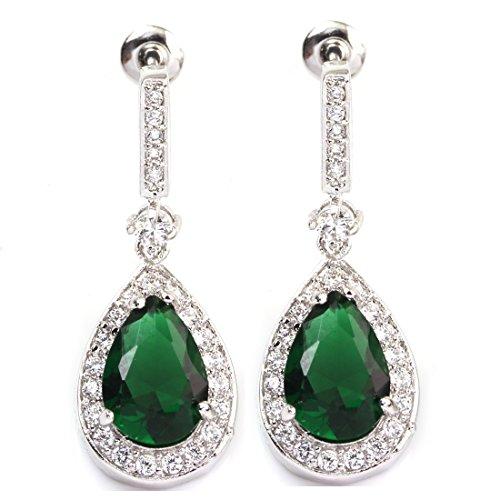 FC White Gold GP Emerald Color Green Teardrop Dangle Bridal Wedding Earrings