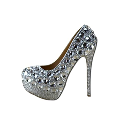7732e70022 Bridal shoes - crystal rhinestones bridal shoes diamond high-heeled wedding  silver wedding shoes(