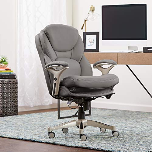 Serta Works Ergonomic Executive Office Chair with Back in Motion Technology, Gray Bonded Leather ()