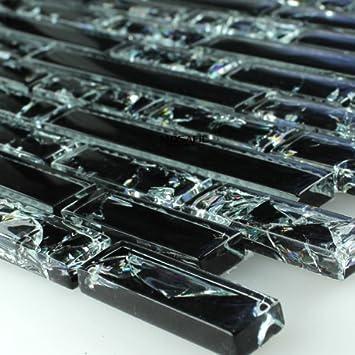 Glasmosaik  Glasmosaik Fliesen Effekt Mosaik Schwarz Gebrochenes Glas Effekt ...