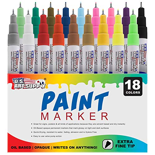 U.S. Art Supply 18 Color Set of Extra Fine Point Tip Oil Based Paint Pen Markers - Permanent Ink That Works on Most Surfaces Glass, Wood, Metal, Rubber, Rocks, Stone, Arts, Crafts & Tools