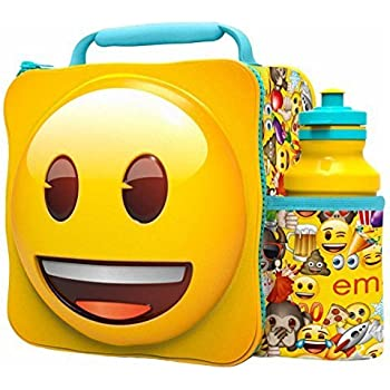 EMOJI Kids Children 3D Lunch Box Bag With Sport Water Bottle