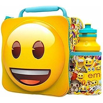 EMOJI Kids Children 3D Lunch Box Bag With Sport Water Bottle