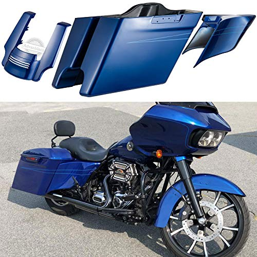 Us Stock Superior Blue 4 1/2 inch Extended Saddlebags Fender Extension Stretched Side Covers Saddlebags Fit for Harley Touring Road Street Glide Special Electra Glide Ultra Classic 2014-2019