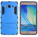 Heartly Samsung Galaxy A7 (2015) SM-A700F Back Cover Graphic Kickstand Hard Dual Rugged Armor Hybrid Bumper Case - Power Blue