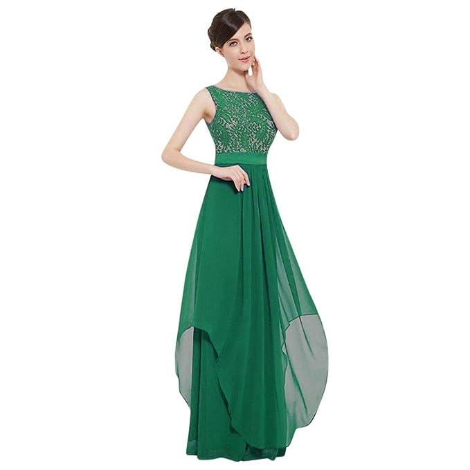 ac607294653 LANSKIRT Frauen Chiffon Brautjungfer Kleider Sleeveless Lange Prom  Partykleid Lace Rueckseite Offen Kurzarme Lange Abendkleider