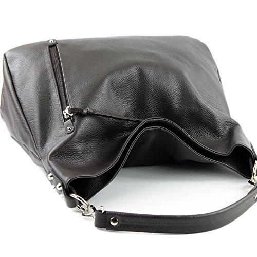 modamoda de - Made in Italy - Bolso al hombro para mujer ver descripción Dunkelbraun Leder
