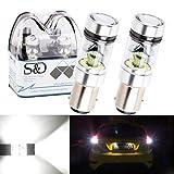 S&D 2 X BAY15D 1157 P21/5W High Power Car LED Lights For Turn Sight Light Tail Bulbs Brake Lamp - 20SMD 3030 360 Degrees - 1200LM 6000K White