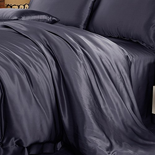 LilySilk Mulberry Silk Duvet Cover Seamless Washable 22 Momme 100 Pure Natural Luxury Comforter Cover Charcoal Purple Queen (87''W x 90''L + 2'') by LilySilk (Image #2)