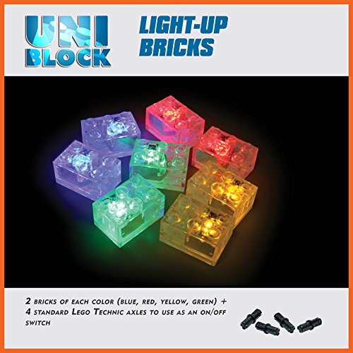 UniBlock Light-Up Bricks,Compatible with Major Brick Brands, on/Off Switch, 2 red, 2 Green, 2 Blue, 2 Yellow Lights
