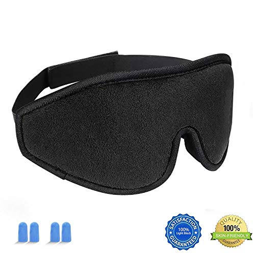 Sleep Mask For Women And Men, HYOUCHANG Upgraded [Super Soft Smooth Cotton] Lightweight 3D Eye Sleeping Mask Eye Cover [100% Light Blcok] Blindfold for Night Sleeping, Travel, Nap, Shift Works (Black) by HYOUCHANG
