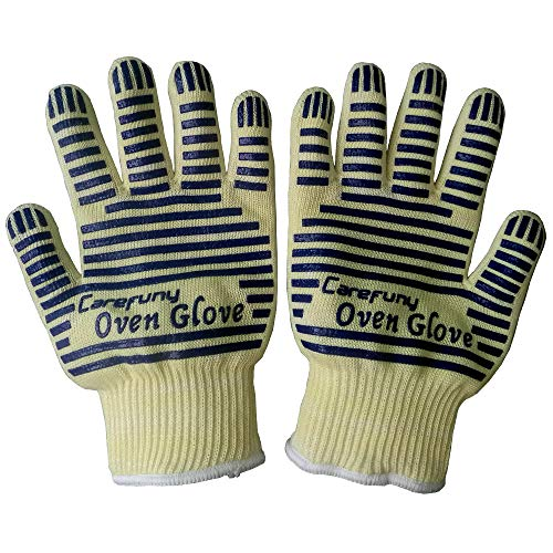 CAREFUNY Revolutionary EN407 Standard Oven Glove, Heat Resistant, Hot Surface Handler Oven Mitt/Grilling Glove, Perfect for Kitchen,540 Degree Resistance, withstands Heat up to 662F(Pack of 2)