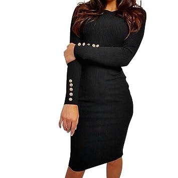 a5cc22f9eae Women Dress Daoroka Women s Sexy Fashion Bodycon Button Knee-Length Casual Sweater  Dress Club Party