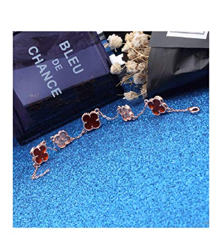 Women Red Black Onyx Malachite 18K Gold Plated Four-leaf Clover Diamond Flower Bracelet/Classic Fashion 925 Sterling Silver Leaf Clover Pendant Bracelets (Red-rose gold)
