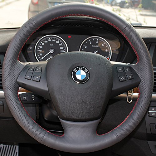 16sixteen Luxury Hand Sewing Anti-Slip Breathable Nappa Genuine Leather Stitch On Car Steering Wheel Cover for BMW X5, Black Cover, Red Thread Bmw X5 Steering Wheel
