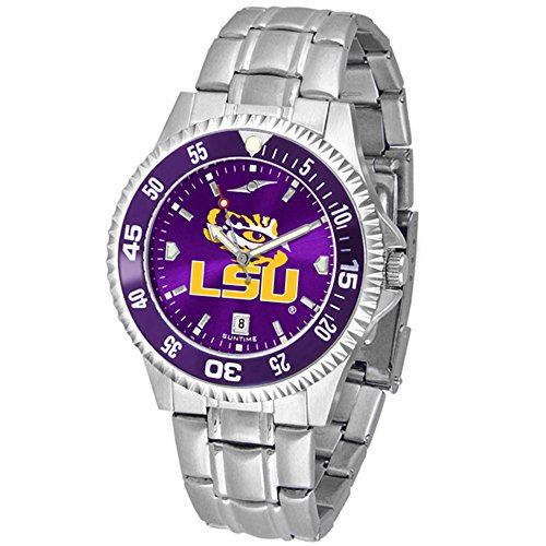LSU Tigers Competitor Steel AnoChrome Color Bezel Men's Watch (Watch Competitor Tigers Steel)