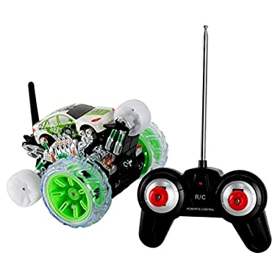 Cyclone Max Extreme Remote Controlled SUV Monster Car with Acrobatic 360 Rolling Rotation Tumble Landing Wheels (Green)