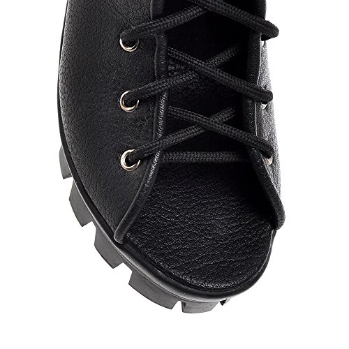 WeenFashion Women's Sandals Black Heels Soft Toe Open Material High Solid up Lace rrxfqHCwd