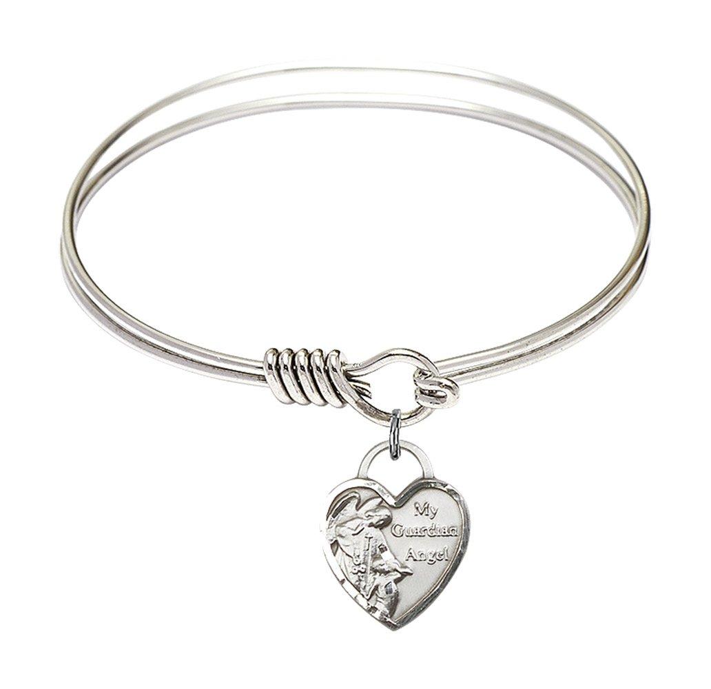 6 1/4 inch Round Eye Hook Bangle Bracelet w/Guardian Angel Heart in Sterling Silver