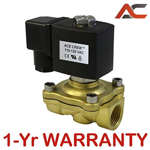 - 1/2 inch 110V-120V AC VAC Brass Electric Solenoid Valve NPT Gas Water Air N/C NC