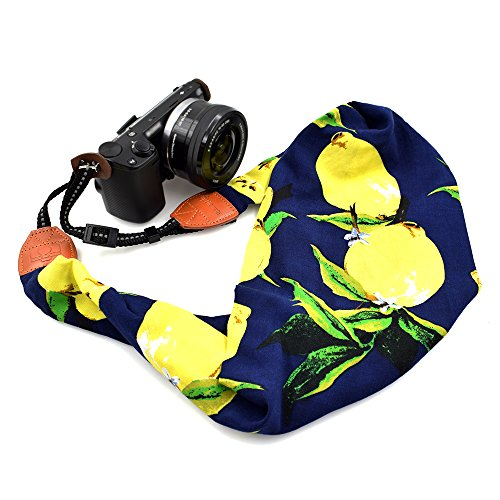 LIFEMATE Scarf Camera Strap,DSLR Camera Strap Universal Neck Strap,Fabric Of Bohemia Floral Scarf Camera Strap (Colorful Lemon) by LIFEMATE