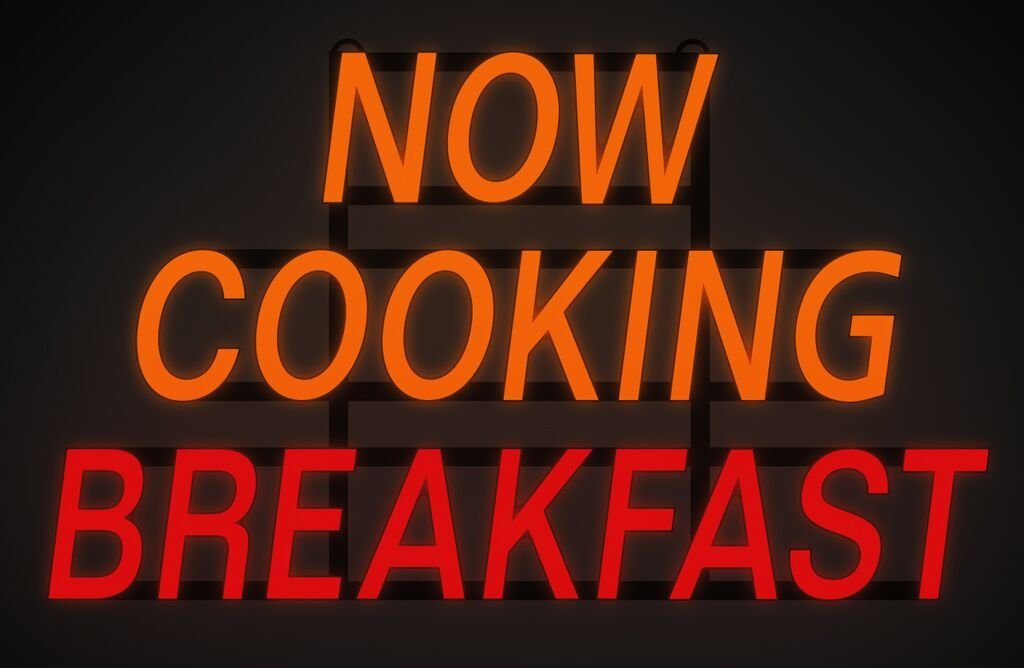 ComeAlong Industries Red and Yellow Heavy Duty LED''Now Cooking Breakfast'' Sign, 31-Inch Wide x 18-Inch High by ComeAlong Industries