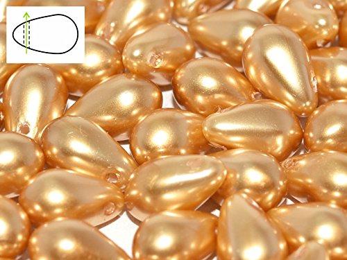 30pcs Czech Glass Beads Teardrop 6x9mm, Pearls Light - Drop Pearl Glass