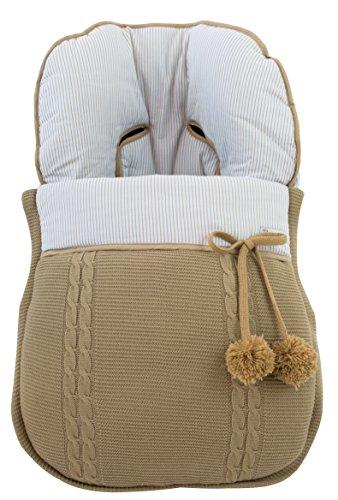 Saco funda universal grupo 0 maxicosi en punto de lana y algodón de rayas. Modelo sophie. Camel/camel: Amazon.es: Bebé