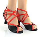 XUEXUE Women's Latin Shoes/Ballroom Shoes Satin/Silk Sandal Indoor/Summer/Professional Buckle Heel Dance Shoes Party & Evening Customizable Square Dance Shoes Social (Color : A, Size : 39)