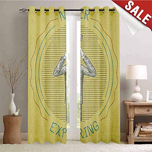 - Hengshu Explore Decorative Curtains for Living Room Sketch Man in a Suit Looking Through Binoculars Never Stop Exploring Ornithology Waterproof Window Curtain W72 x L84 Inch Multicolor