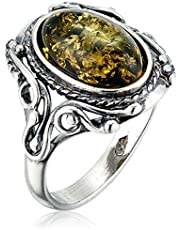 HolidayGiftShops Sterling Silver Baltic Green Amber Ring Georgine