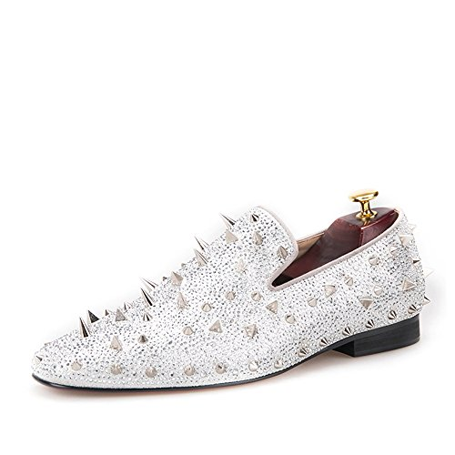 6f68bd8802ce HI HANN Spikes and Diamonds Men s Glitter Leather Shoes Slip-on Loafer  Round Toes Smoking Slipper-10.5-Silver