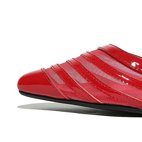 Nine Seven Cuero Moda Puntiagudos Zapatos de Tacón Aguja con Hueco para Mujer Rojo