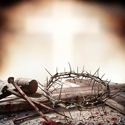 Laeacco Crucifixion of Jesus Christ Photography Background 8x8ft Hammer Bloody Nails Crown Thorns Cross Christ Nail Easter Christianity Hammer Passion Calvary Semana Santa Religion Blood ()