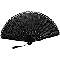 TANG DYNASTY(TM) Japanese Lace Hand Fan Black Handheld Fan Jhf-192
