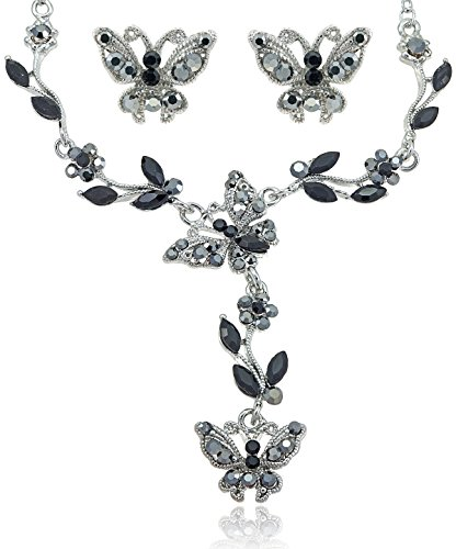 [Black Diamond Color Crystal Butterfly Rhinestone Flower Necklace and Earrings Jewelry Set [Bridal] (Butterfly Costume Jewelry)