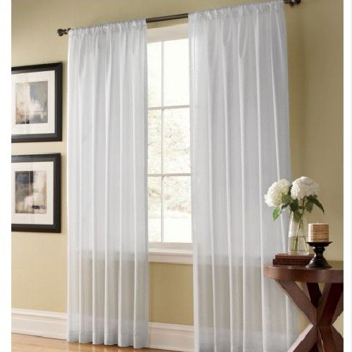 (IYUEGO Solid Contemporary White Sheer Window Curtains/Drape/Panels/Treatment Rod Pocket Top With Custom Multi Size 72