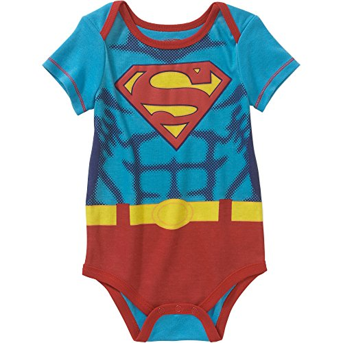 DC Comics Superman / Supergirl Logo Baby Boys & Girls Bodysuit Dress Up Outfit (3-6 Months, Logo) (Mens Dress Up Outfits)