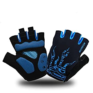 MOREOK Mens Cycling Gloves,Half Finger Biking Glove MTB DH Road Bicycle Gloves Gel Pad Shock-Absorbing Anti-Slip…