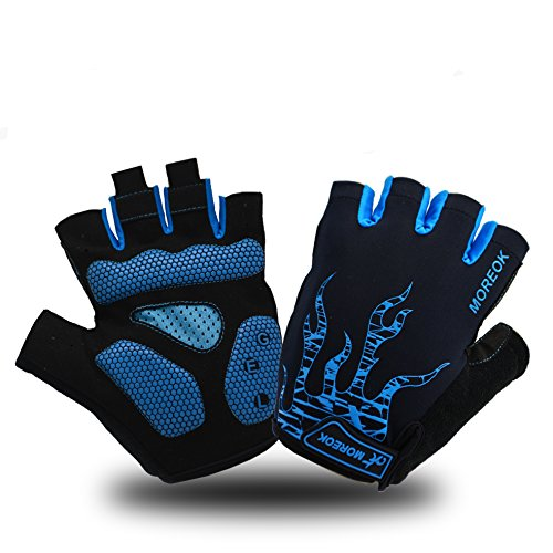 (MOREOK Shock-Absorbing Breathable Anti Slip Cycling Gloves Half Finger Bike Bicycle Gloves Gel Padded Mountain Bike Road Bike Riding Gloves for Men and Women (Blue, XL))