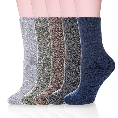Velice Womens Super Thick Merino Wool Knit Warm Wool Crew Winter Socks (5 Pairs Color) ()