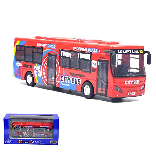 Ailejia City Bus Alloy Die Cast Pull Back Vehicles Mini Model Car Toys Lights and Music (Red)