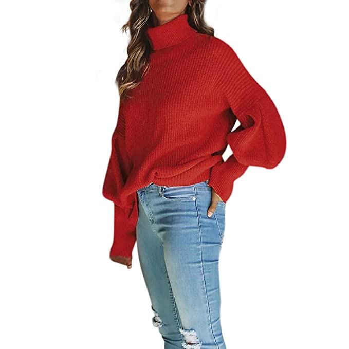 c0ea4a2355c7 KFSO Women s Turtleneck Long Lantern Sleeve Loose Pullover Knit Sweater  Jumper Top (Red