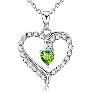 August Birthstone Jewelry Love Heart Pendant Necklace Green Peridot Gifts for Wife Women for Her Sterling Silver