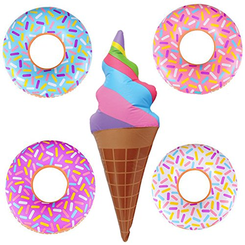 5 Piece Jumbo Ice Cream Cone and Donut Inflatable Blow Up Pool Party Decoration Favor (Inflatable Turtle Pool Toy)